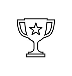 trophy cup line icon in flat style winner symbol vector image