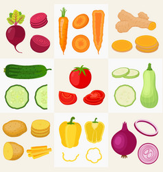 vegetables set cartoon flat style vector image