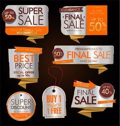 vintage style golden sale labels design vector image