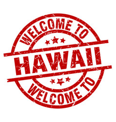 Welcome to hawaii red stamp vector