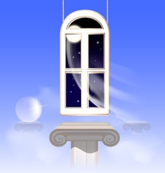 Window in the nightly sky vector