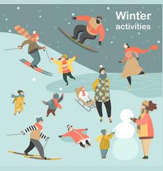 winter activities set vector image