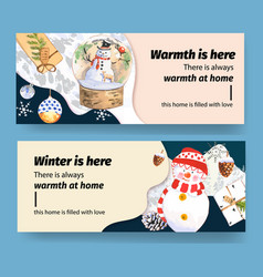 Winters home banner design with pine letter leaf vector
