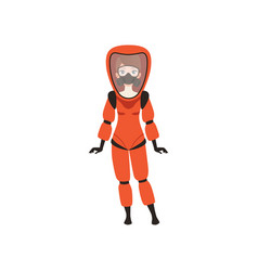 Woman in red protective costume and gas mask vector