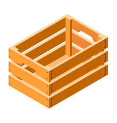 Wood crate icon isometric style vector