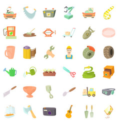 worker craft icons set cartoon style vector image