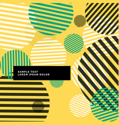 Yellow abstract circles with stripes background vector