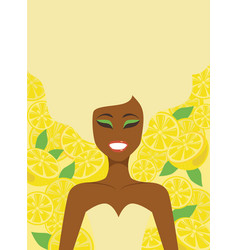young girl over lemon background vector image