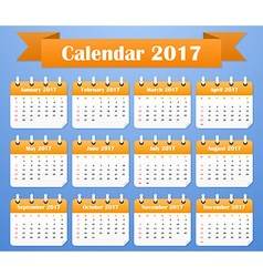 American Calendar for 2017 Week starts on Sunday vector image