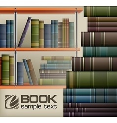 Book stacks on shelf vector image