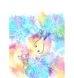 Colorful card with butterfly vector image vector image