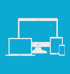 flat white electronic devices on blue background vector image