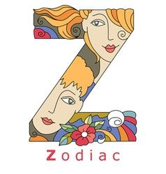 letter Z zodiac vector image vector image