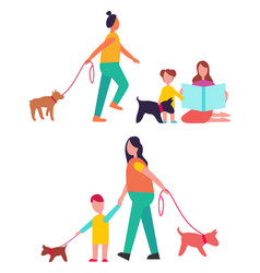 people walking dogs have fun vector image