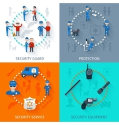 Security guard 4 flat square vector image vector image