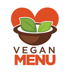 vegan menu promotional poster with bowl of soup vector image