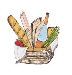colorful drawing of traditional wicker picnic vector image