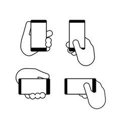 hand holds a smart phone in vertical and vector image