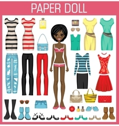 Paper doll with clothes vector image vector image