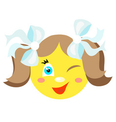 smiley girl winks and smiles vector image vector image