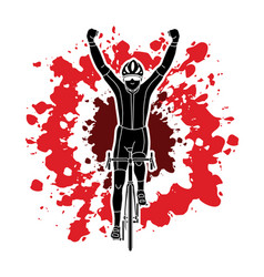 the winner bicycle riding sport man champion biki vector image vector image