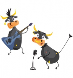 musical cows vector image vector image