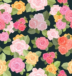 retro seamless texture with roses vector image