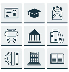 set of 9 education icons includes education vector image vector image