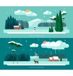 Set of winter landscape vector image