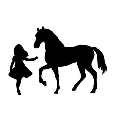 silhouette girl wants touch horse vector image vector image