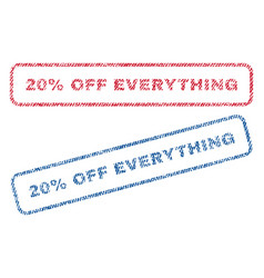 20 percent off everything textile stamps vector image
