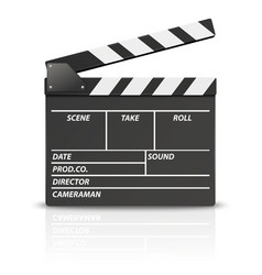 3d realistic blank opened movie film clap vector
