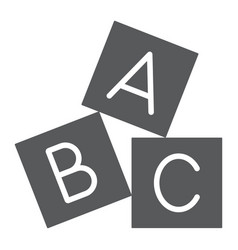 Alphabet cubes glyph icon abc and toy vector