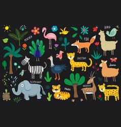animal doodles set cute animals sketch hand drawn vector image