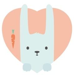 Animal set portrait a rabbit in love flat vector