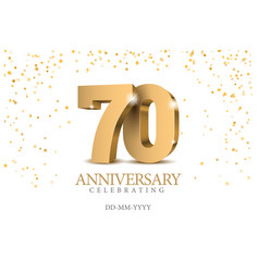 Anniversary 70 gold 3d numbers vector