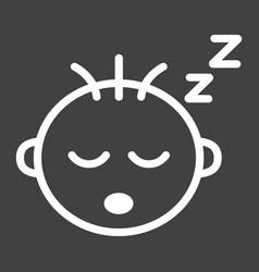 Baboy sleep line icon child and infant vector