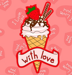 Background with ice cream cone vector