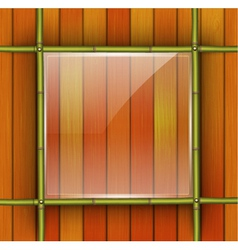Bamboo frame with glass banner vector
