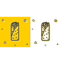 Black burrito icon isolated on yellow and white vector