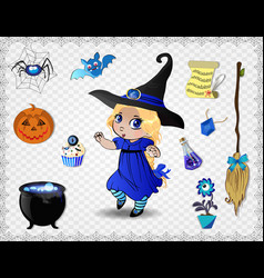 Blue halloween cartoon set of objects for witches vector