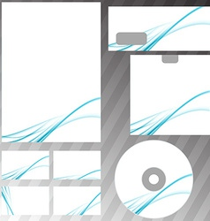 Blue swoosh abstract modern wave stationery set vector