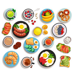 Breakfast isolated set vector