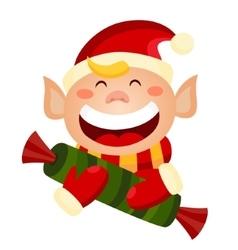Cartoon cute christmas elf holding a candy vector