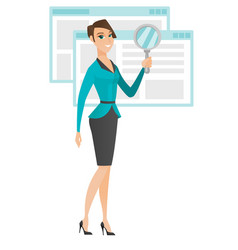 Caucasian business woman with magnifying glass vector