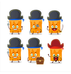 Character orange candle with various pirates vector