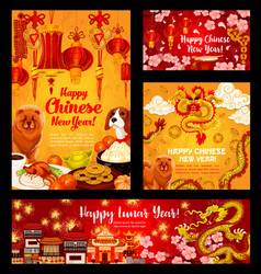 Chinese dog lunar new year greeting design vector