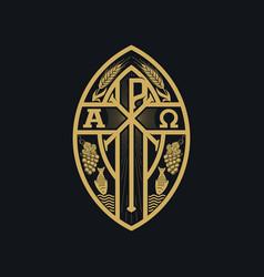 Christian monogram jesus christ vector