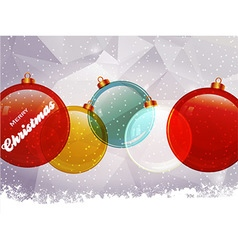 Christmas baubles snow and text vector