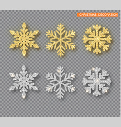 christmas decoration set golden and silver vector image